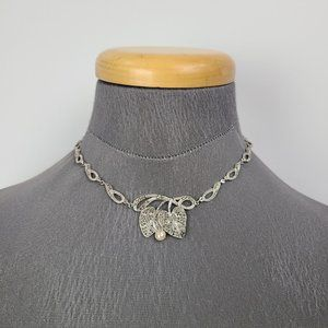 Silver Leaf Marcasite Necklace